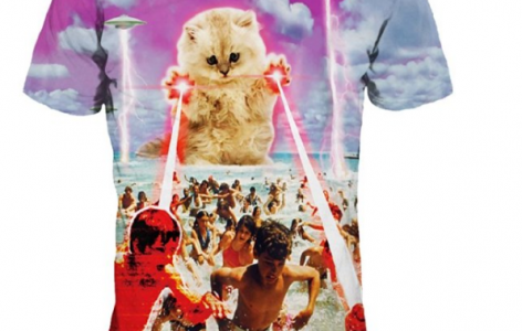 Unisex UFO Kitten Cat Laser Attcak Beach Print Couples Tee Shirt