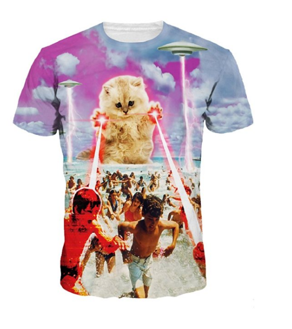 Unisex UFO Kitten Cat Laser Attcak Beach Print Couples Tee Shirt