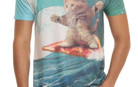 cat surfing pizza shirt