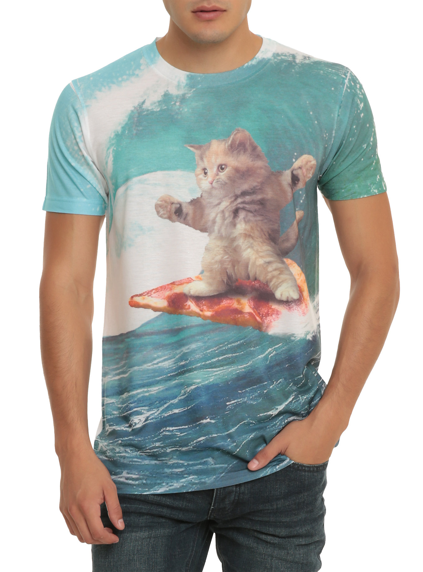 cat surfing pizza shirt