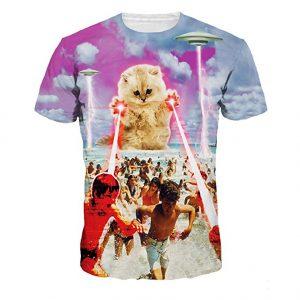 ufo-kitten-cat-laser-attack-beach-tee-shirt
